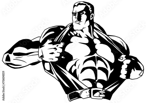 Fotografia  muscular bodybuilder rips shirt