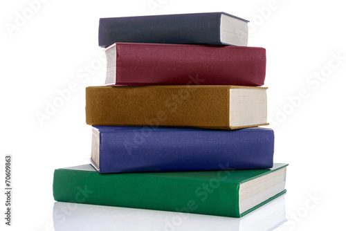 Fényképezés Stack of five hardback books isolated on white
