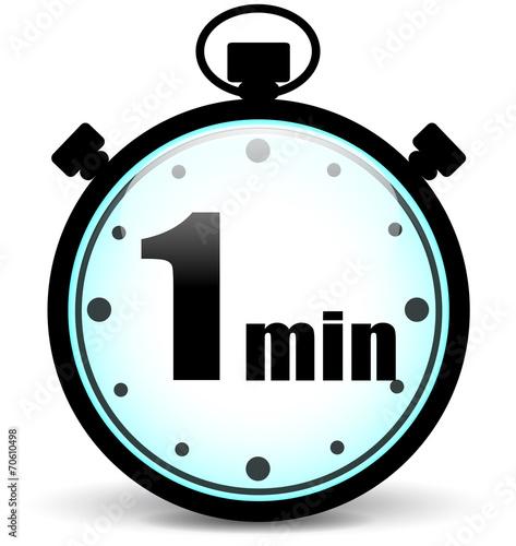 Cuadros en Lienzo  Vector one minute stopwatch