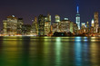 Lower Manhattan skyline view at night from Brooklyn