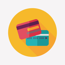 Credit Card Flat Icon With Lon...