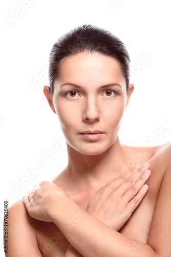 Hübsche nackte Frau verdeckte ihre Brust Stock-Foto
