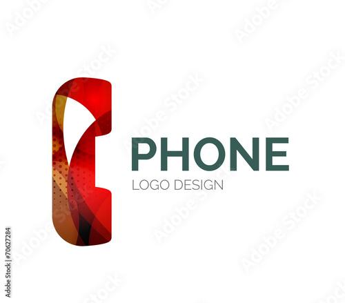 Fototapety, obrazy: Retro phone logo design made of color pieces