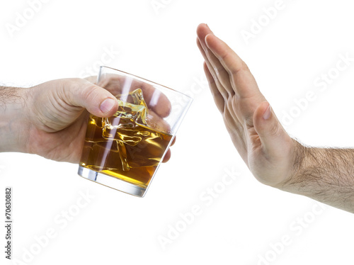 Papiers peints Bar hand reject a glass of whisky