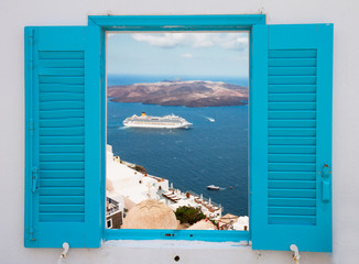Fototapeta window with view of Santorini volcano