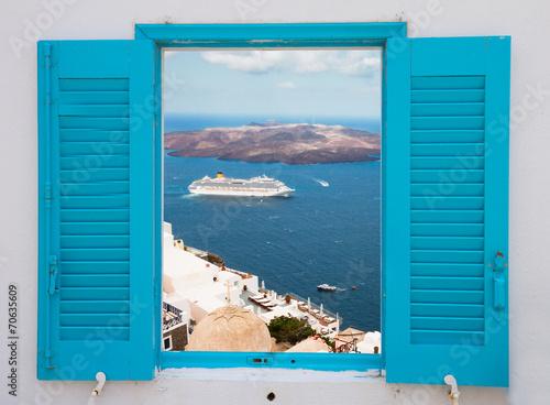Fototapeta window with view of Santorini volcano obraz