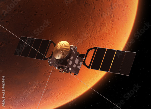 "plakat Statki kosmiczne ""sonda Mars Express"" Orbicie planeta Mars"