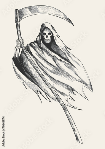 Sketch illustration of grim reaper Poster