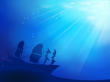 Deep Blue Ocean With Shipwreck As A Silhouette Background
