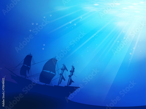 Deep blue ocean with shipwreck as a silhouette background Canvas Print