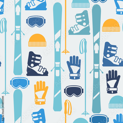 Cotton fabric Sports seamless pattern with skiing equipment flat icons.