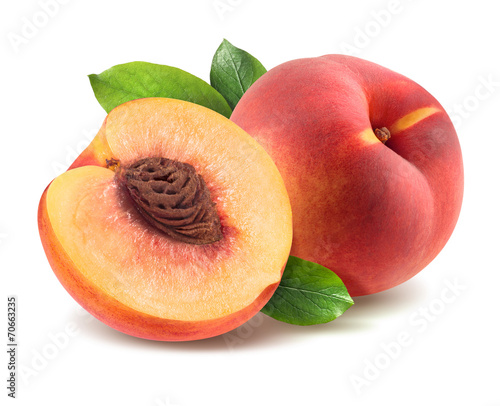 Peach with leaves and half piece isolated on white background Fototapeta