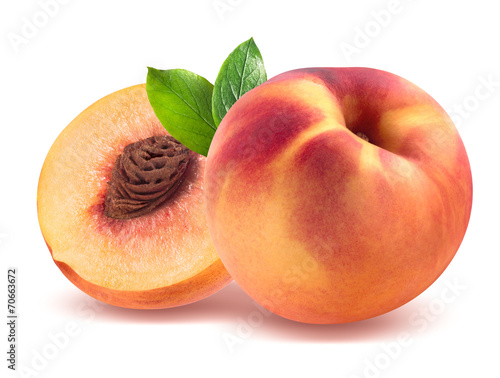 Foto op Aluminium Vruchten Peach and half isolated on white background