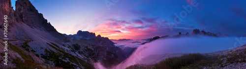 Fotobehang Zwart Sunrise in the Dolomites, panoramic pictures.