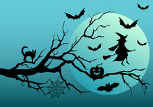 Halloween Witch And Bats, Vector