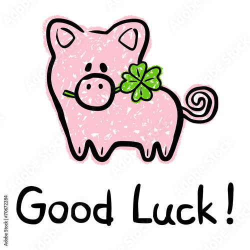 Good Luck Card With Lucky Charm Pig And Four Leaved Shamrock Buy