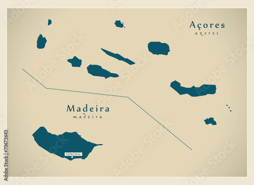 Photo Modern Map - Acores & Madeira Ilha PT