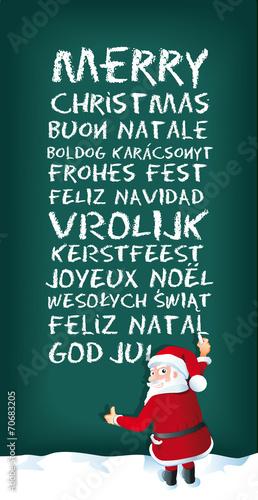 Frohe Weihnachten In Vielen Sprachen.Santa Claus Schreibt Frohe Weihnachten In Mehreren Sprachen