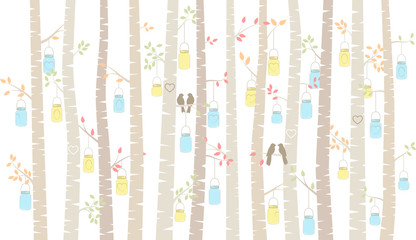 FototapetaVector Birch or Aspen Trees with Hanging Mason Jars and Love Bir