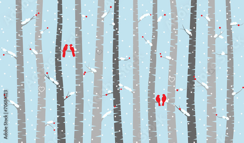 Fotobehang Vogels in het bos Vector Birch or Aspen Trees with Snow and Love Birds