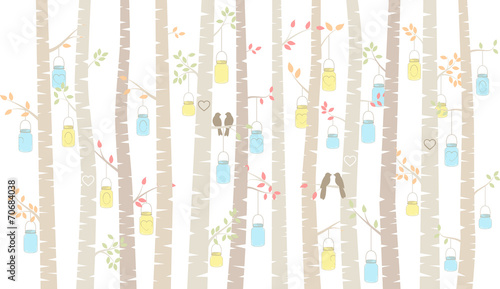 Vector Birch or Aspen Trees with Hanging Mason Jars and Love Bir - 70684038