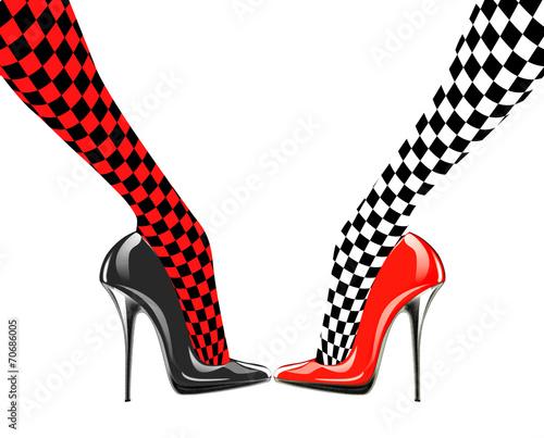 ikona-obuwia-damskiego-wysokie-obcasy-wzor-szachowy-streszczenie-projektu