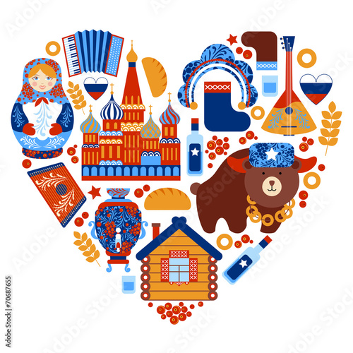 Fotografie, Obraz  Russia travel heart set