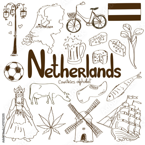 In de dag Boho Stijl Collection of Netherlands icons