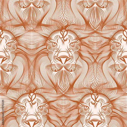 Foto-Kissen premium - Repaint seamless pattern: old lion (von gruberjan)