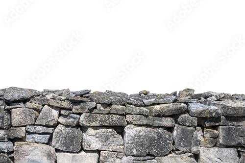 Fotografie, Obraz  Stone wall isolated