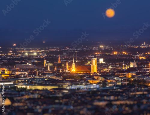Foto op Aluminium Volle maan Night aerial view of Munich, Germany