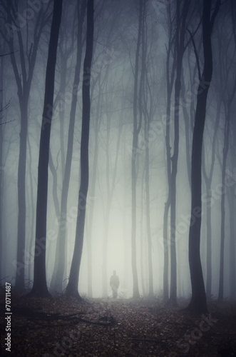 Photo sur Toile Bestsellers man walking on path through spooky dark forest