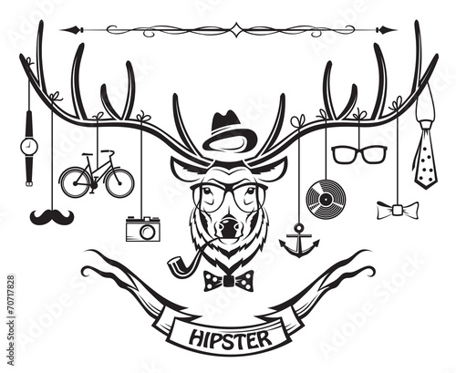 deer with hipster style elements