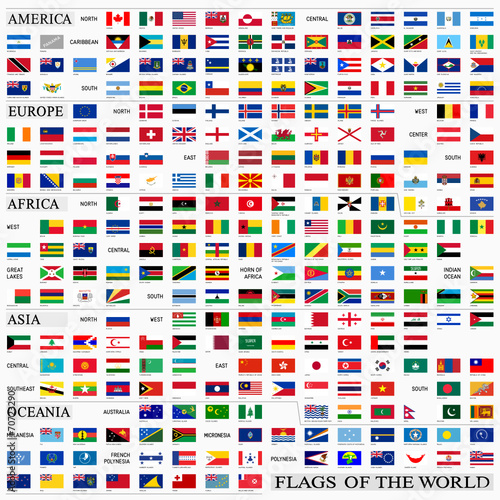 Obraz World flags with proportion 3:5, by continents - fototapety do salonu