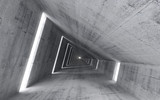 Fototapeta Scene - Abstract empty concrete interior, 3d render of pitched tunnel