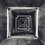 Fototapeta Perspektywa 3d - Abstract square dark concrete tunnel interior, 3d background