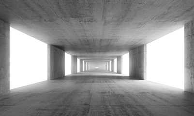 Abstract empty gray concrete interior background, 3d render