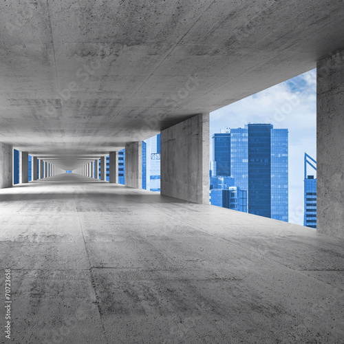 Abstract empty gray concrete 3d interior background
