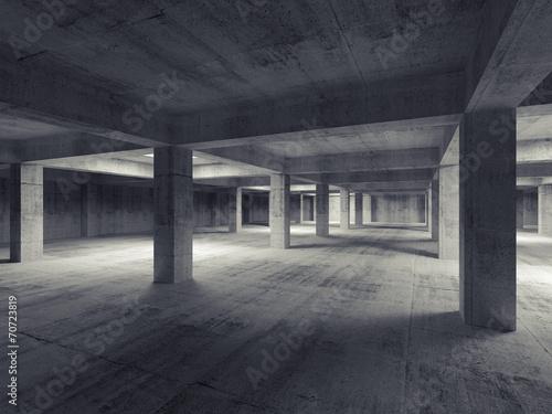 Empty dark abstract industrial underground concrete interior. 3d Plakát