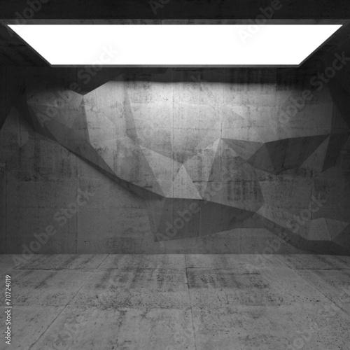 fototapeta na lodówkę Streszczenie betonowe wnętrze z wielokąta wzór na ścianie