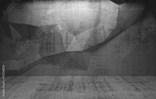 Abstract dark concrete interior with polygonal pattern on the wa #70724029