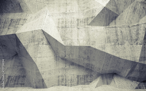 Abstract toned concrete 3d interior with polygonal pattern on th #70724094
