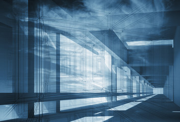 Abstract 3d architecture background with perspective view of blu