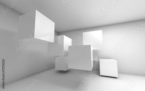 fototapeta na lodówkę Streszczenie pusty 3d wnętrze z białymi kostkami latających