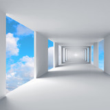 Fototapeta Perspektywa 3d - Abstract 3d architecture, empty corridor with sky on background