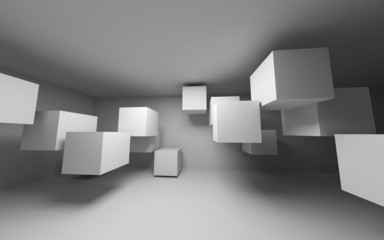 Abstract white interior with flying cubes. 3d render