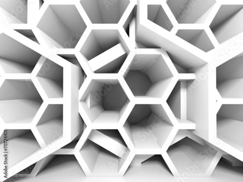 Abstract white honeycomb structure. 3d render background #70724401