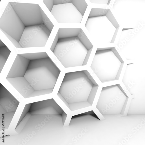 Abstract white 3d interior with honeycomb on the wall #70724414
