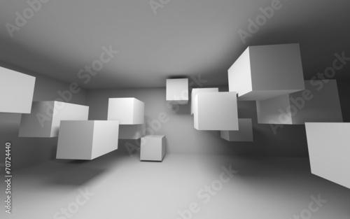 Abstrakcjonistyczny biały wnętrze z latającymi sześcianami. Renderowania 3d