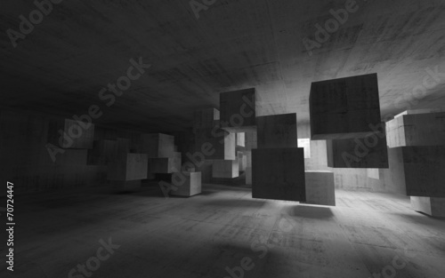 Abstract concrete interior with flying cubes. 3d render